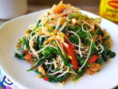 美味家常菜:海米粉丝拌菠菜,泡椒明太鱼,蘑菇油豆腐
