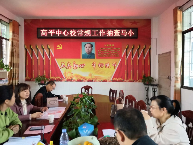 隆回县高平镇中心学校突击检查马落完全小学的教学常规工作