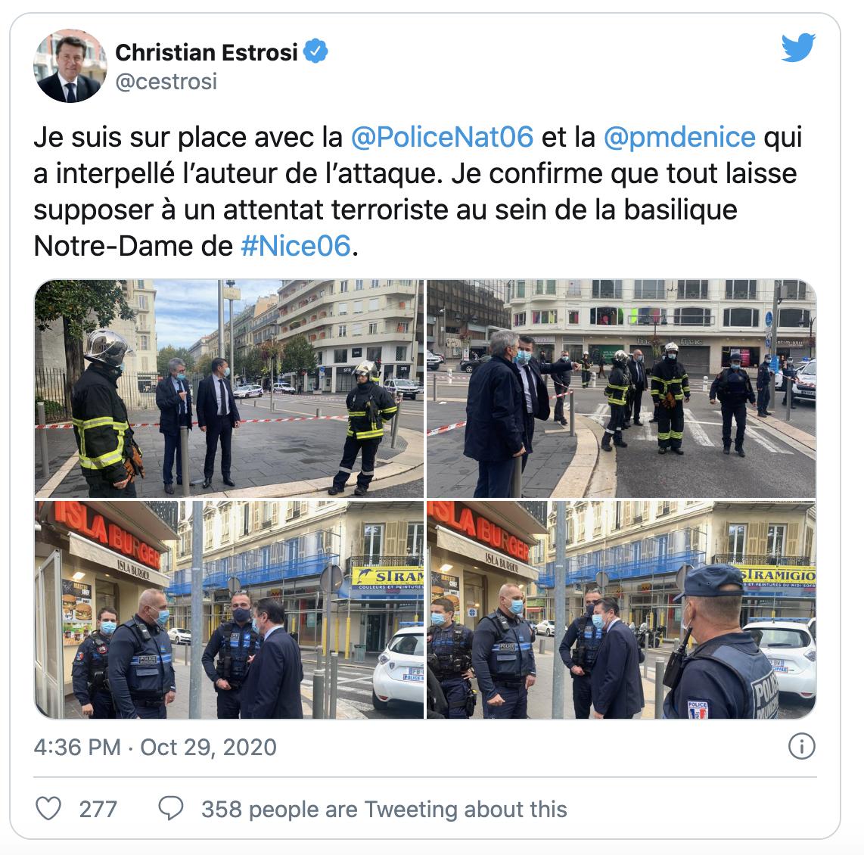 法国尼斯据称发生持刀袭击致1死多伤,一名70岁男子疑被斩首