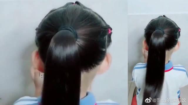 今年很火的儿童编发发型,头发多少都能扎,既简单又洋气!