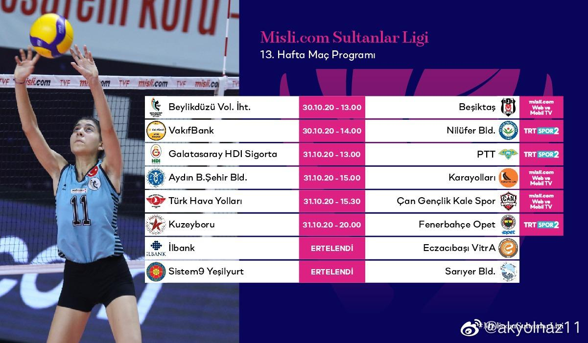 2020-2021赛季土耳其女排联赛第十三轮赛程预告(北京时间)