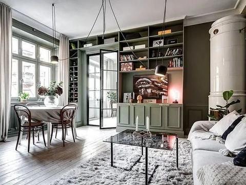 瑞典大胆、不规则布局的绿色公寓(68平方米)