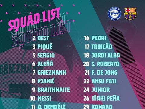 巴萨联赛第8轮大名单公布:梅西领衔冲击C罗纪录,两大主力缺席!