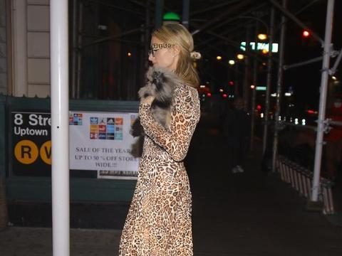 帕丽斯·希尔顿穿豹纹长裙秀细腰,抱狗狗太有名媛范,太高贵!