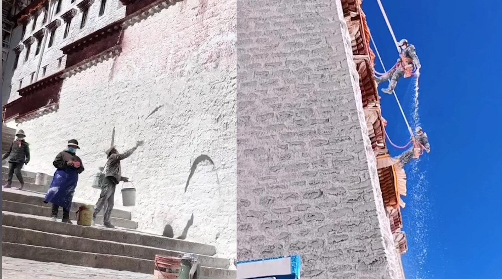 布达拉宫的墙是甜的!网友偶遇泼甜墙发现原料竟是牛奶和白糖