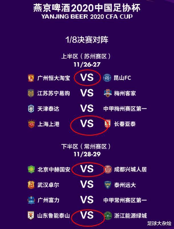 足协杯半决赛可能对阵:恒大VS上港,山东鲁能VS北京国安!