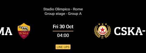 罗马vs索菲亚中央陆军首发:马约拉尔、姆希塔良先发