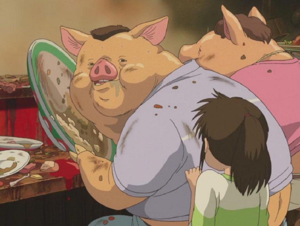 千与千寻:千寻的父母太贪吃,结果遭受到诅咒变成肥猪