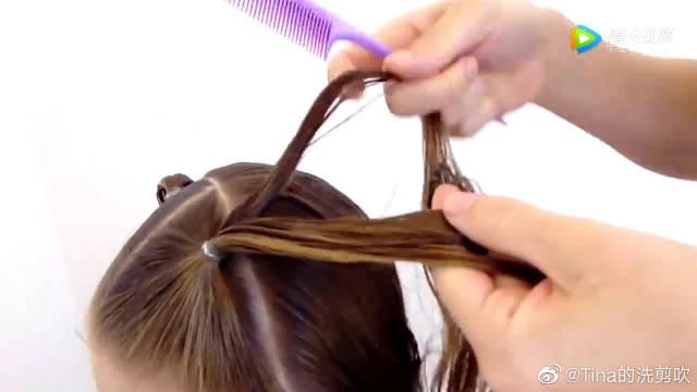 宝妈儿童编发教程之简单的双马尾辫发型