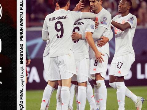 欧冠2-1,13连胜!拜仁时隔25年再胜对手,莱万2场0球