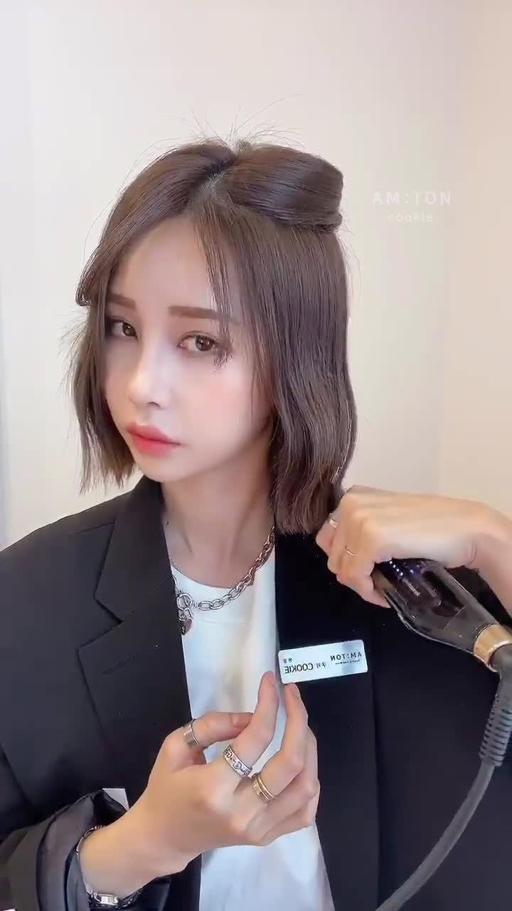 「韩系短发波浪卷卷发教程 」 直发板卷发手法+刘海蓬松打理~