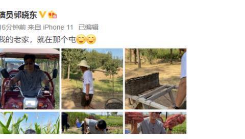 郭晓东回老家干农活,开三轮车挑东西掰玉米,赤脚挖土有模有样