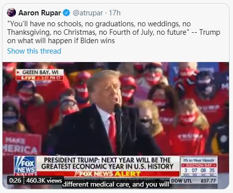(图为反感特朗普的美国记者Aaron Rupar在自己的社交账号上转发美国总统特朗普攻击总统竞选对手拜登的言论。这当然不代表他认可特朗普的言论,只是在展示特朗普的这种说法)