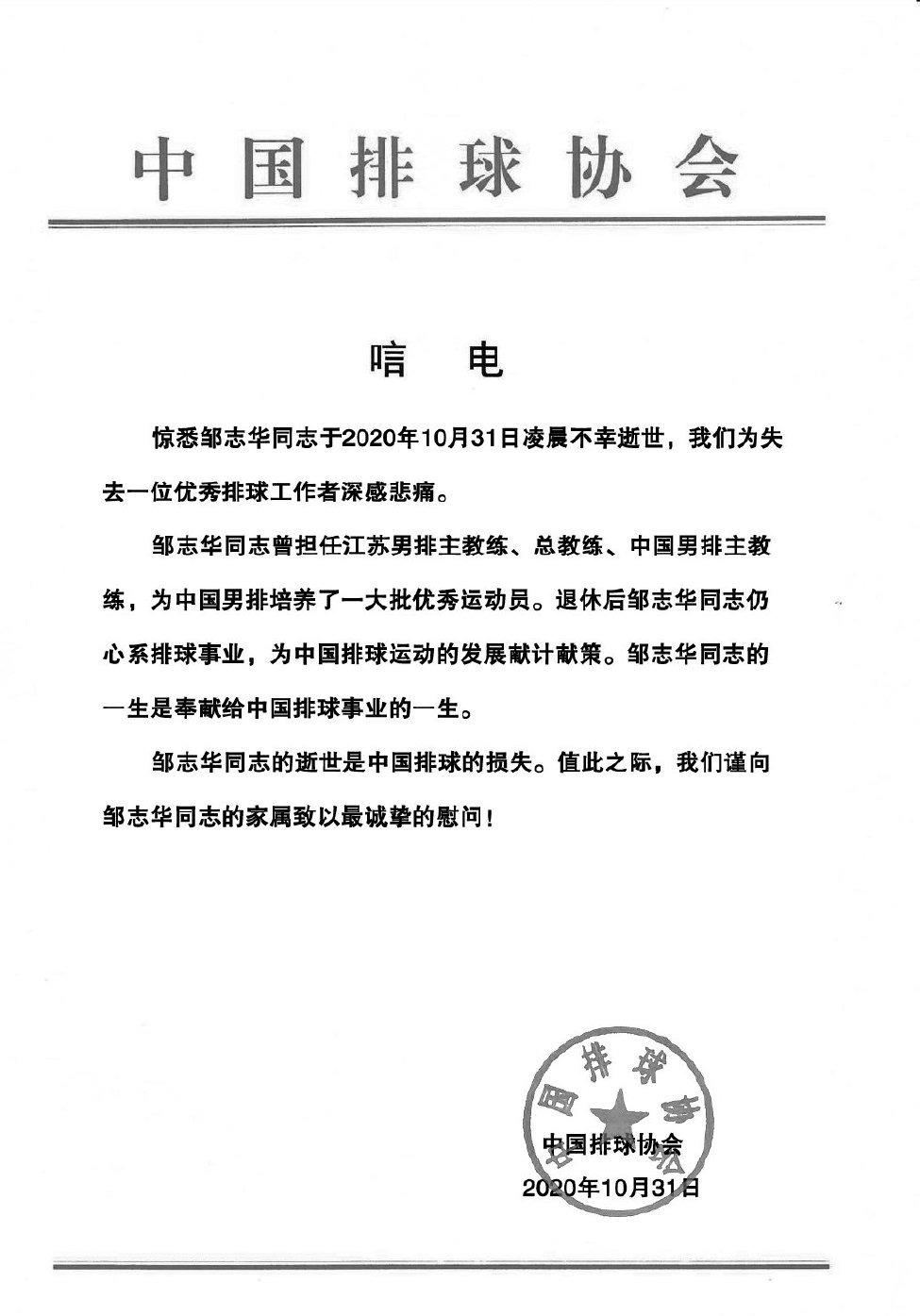 前中国男排主帅邹志华去世 中国排球协会沉痛悼念
