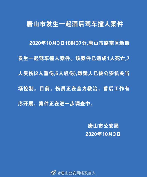 河北唐山发生一起酒后驾车撞人事件 已致1死7伤图片