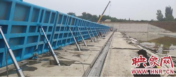 河南省宝丰县内河水工大坝蓄水顺利