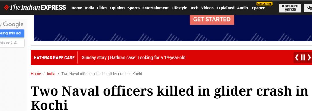 滑翔机坠毁,两名印度海军军官死亡图片