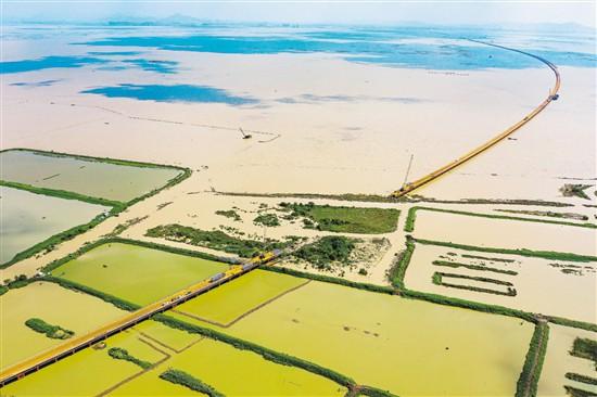 黄茅海跨海通道钢栈桥即将全线贯通