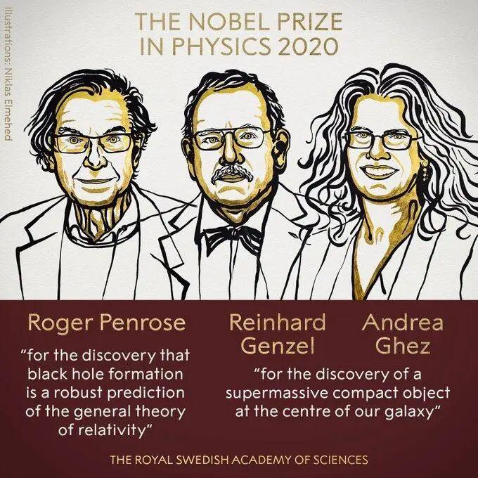 3人分享今年诺贝尔物理学奖,原因有关黑洞图片