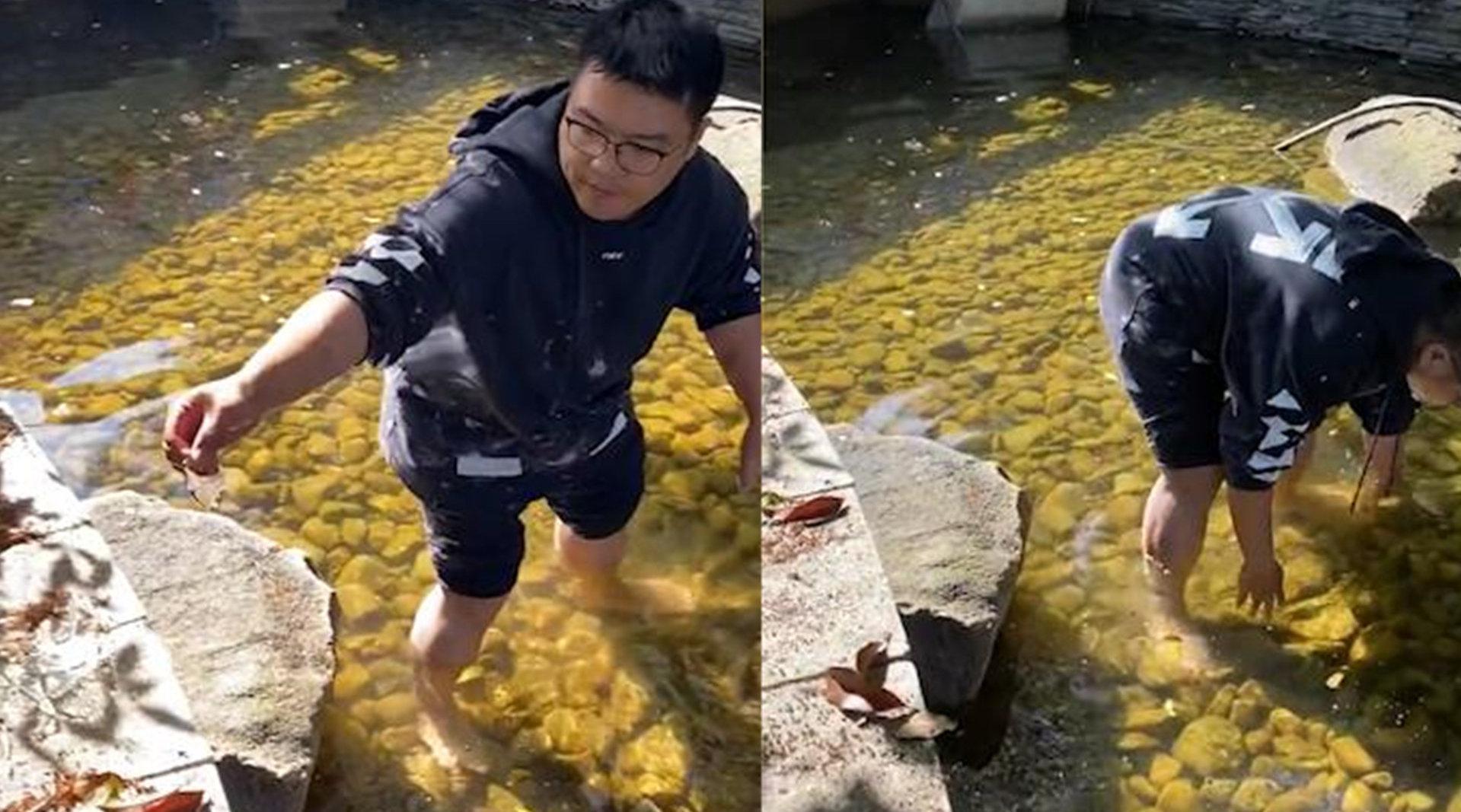 萌宝池塘边玩耍打碎玻璃瓶,爸爸不顾寒冷光脚下水捡碎片