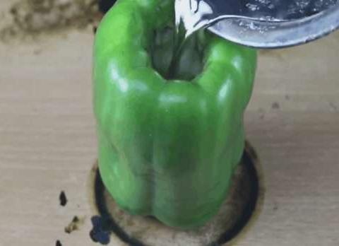 将铝水倒在青辣椒里面,切开辣椒的场面:我笑了