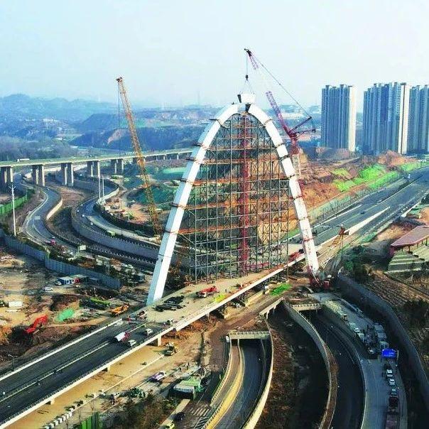 太原东中环北延,涧河景观桥主拱合龙