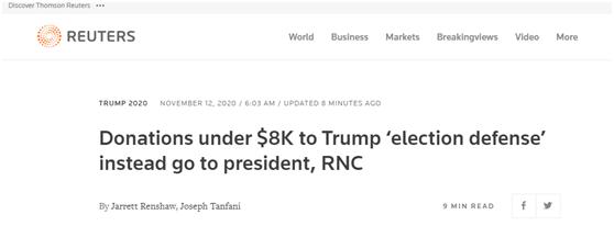 """特朗普团队呼吁支持者捐钱""""打官司"""",不过……图片"""
