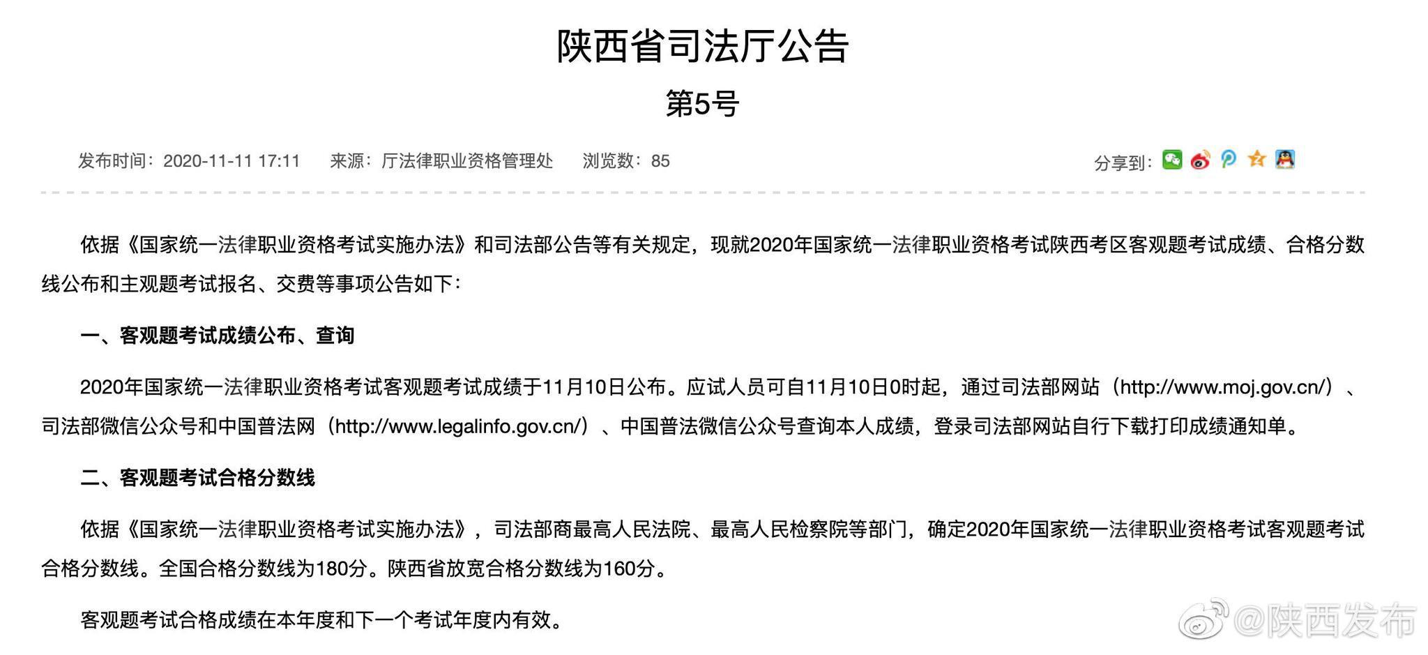 陕西考区法考客观题合格分数线公布
