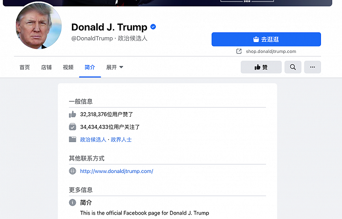 """Facebook将特朗普头衔变更为""""政治候选人"""""""