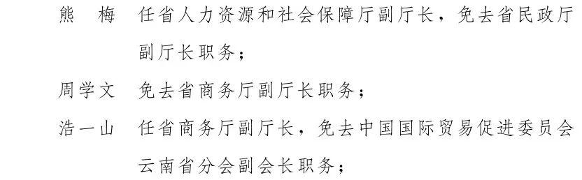 云南省人民政府发布一批任免职通知,涉及19名干部图片
