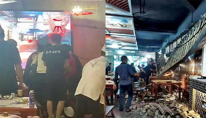 惊险!实拍:吃饭时餐馆内部框架突然坍塌 多名食客服务员被砸伤