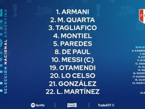 阿根廷vs秘鲁先发:梅西领衔,劳塔罗、洛塞尔索出战