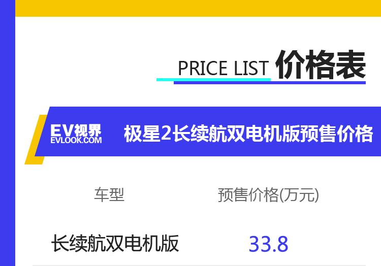 极星2长续航双电机版正式开启预售 预售价33.8万元起