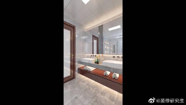灰色调的主卫生间,设计双台盆,星级酒店的奢华高级感!……