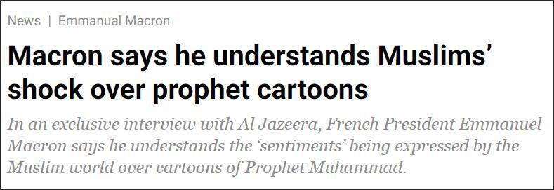 马克龙急灭火:理解穆斯林的愤怒,漫画不是政府作品