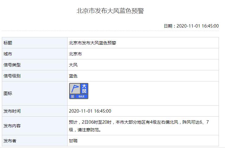 阵风7级!北京发布大风蓝色预警图片