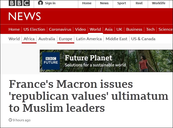 "BBC:马克龙就""共和国价值""问题向穆斯林领导人发出最后通牒"