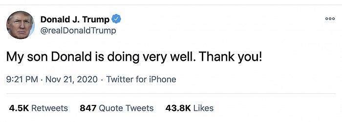 """特朗普回应""""长子确诊新冠"""":我儿子很好,谢谢"""