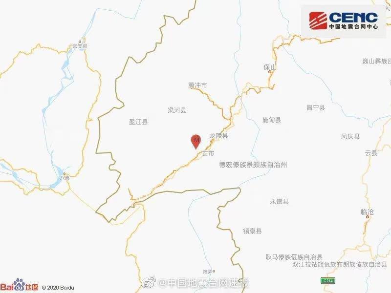 云南德宏州芒市发生3.6级地震