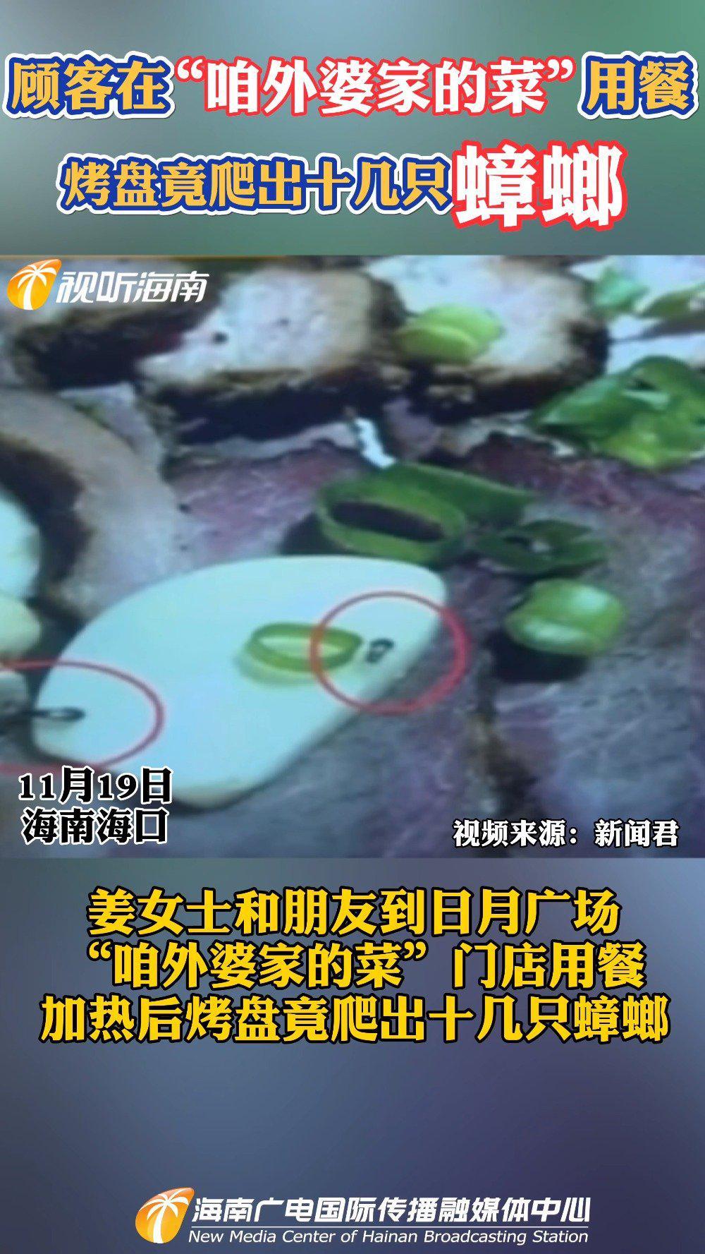 顾客在咱外婆家的菜用餐 烤盘竟爬出十几只蟑螂