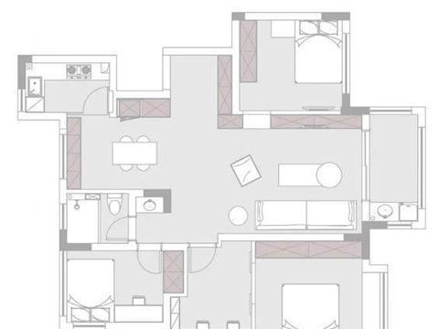 108㎡简约风格4居室,电视墙装隐形门,主卧室隔出书房,实用!
