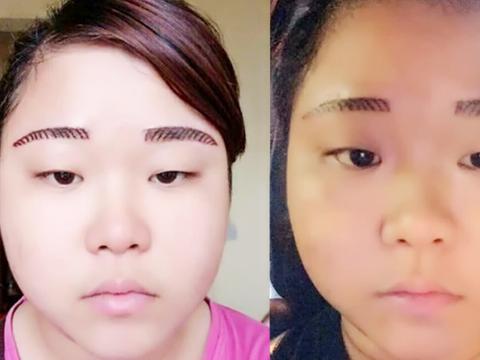 妹子贪小便宜花300元纹眉毛,效果让人惊呆,不像眉毛像缝针