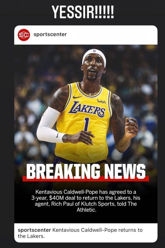 湖人簽回Pope,詹皇發Twitter慶祝,美國著名詹黑:直接給詹姆斯頒發獎盃吧!-黑特籃球-NBA新聞影音圖片分享社區