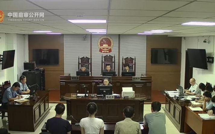 2020年8月19日,该案一审开庭。图片来源:中国庭审公开网庭审录像截图。