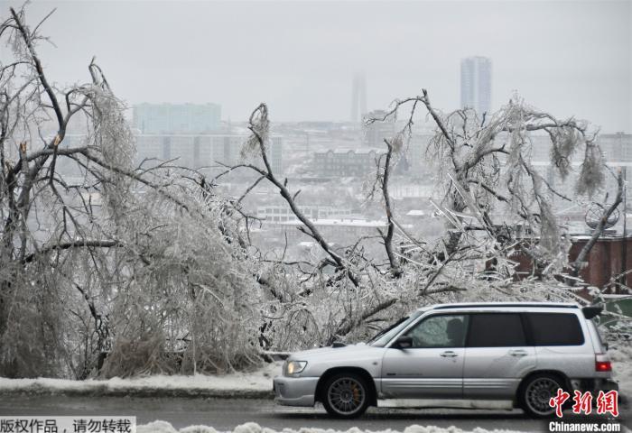 俄符拉迪沃斯托克遇暴风雪15万人断电 完全恢复或需3天