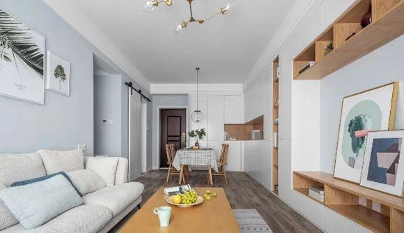 76㎡2室2厅,鞋柜餐边柜电视柜连成一体,简约风格设计真温馨!
