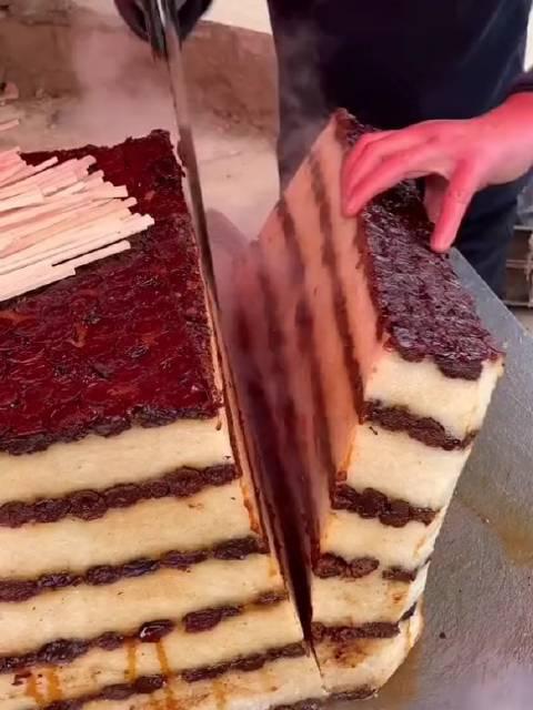 跟会和赶集才会有的美食,西安叉叉甑糕特色小吃