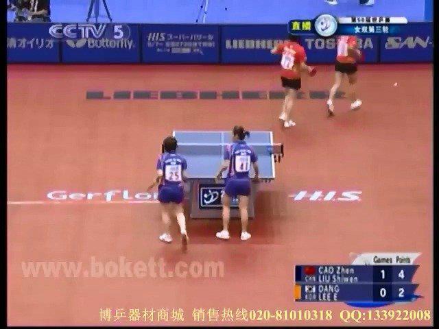 2009年的横滨世乒赛女双第三轮 曹臻/刘诗雯vs唐娜/李恩姬…………