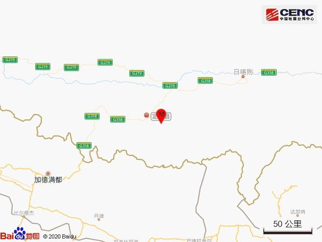 西藏日喀则定日县发生地震!