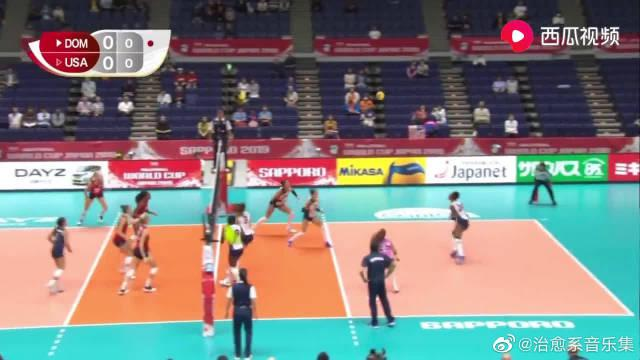 比赛集锦:女排世界杯第八轮,多米尼加女排VS美国女排